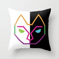 Abstract Multicolored Ca… Throw Pillow