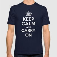 Keep Calm and Carry On - Red Book Mens Fitted Tee Navy SMALL