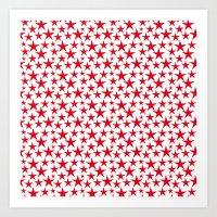 Red stars on white background illustration Art Print