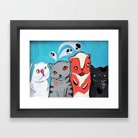 Technicolour Dream Cats Framed Art Print