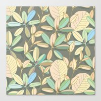 Leaf pattern | brown, pale yellow and green Canvas Print