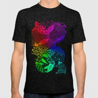 Rainbow Zentangle Mens Fitted Tee Tri-Black SMALL