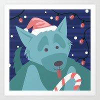 Christmas Dog - Version … Art Print