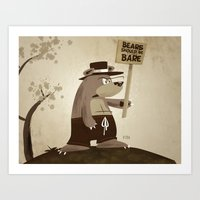 Art Print featuring Bears want to be bare by David Finley