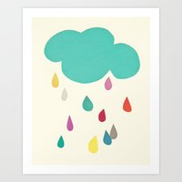 sunshine Art Prints featuring Sunshine and Showers by Cassia Beck
