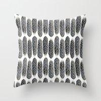 Black Stripe Feather Pattern Throw Pillow