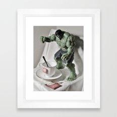 Green Hulk Cuppa Tea Framed Art Print