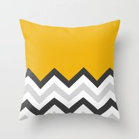 Color Blocked Chevron 17 Throw Pillow