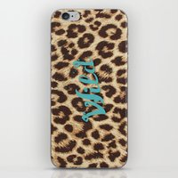 Leopard Print Teal Blue … iPhone & iPod Skin