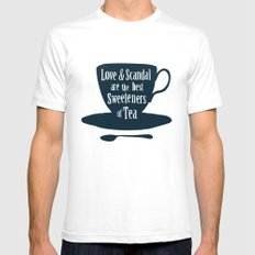 Love & Scandal are the Best Sweeteners of Tea Mens Fitted Tee White SMALL