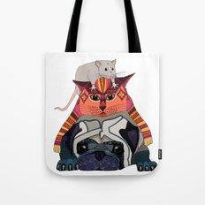 mouse cat pug white Tote Bag