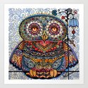 Magic  graphic owl  painting Art Print