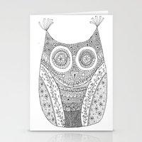 Owl Doodle Art Stationery Cards