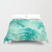 Paradise Palms Mint Duvet Cover