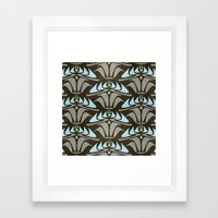 Blue - Arts and Crafts Inspired Stylized Floral Pattern - Susan Weller Framed Art Print