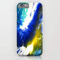 Abstract Art Drip Painting Blue, White ,Yellow iPhone 6 Slim Case