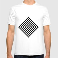 Black And White Concentr… Mens Fitted Tee White SMALL