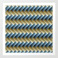 3D Weave, Blue and Yellow Gold Art Print