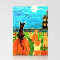 Seven Cats in Pumpkin Patch Stationery Cards
