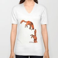 V-neck T-shirt featuring Jumping Red Fox by Goosi