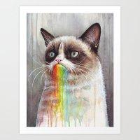 Cat Tastes The Grumpy Ra… Art Print