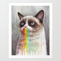 Cat Tastes the Grumpy Rainbow | Watercolor Painting Art Print
