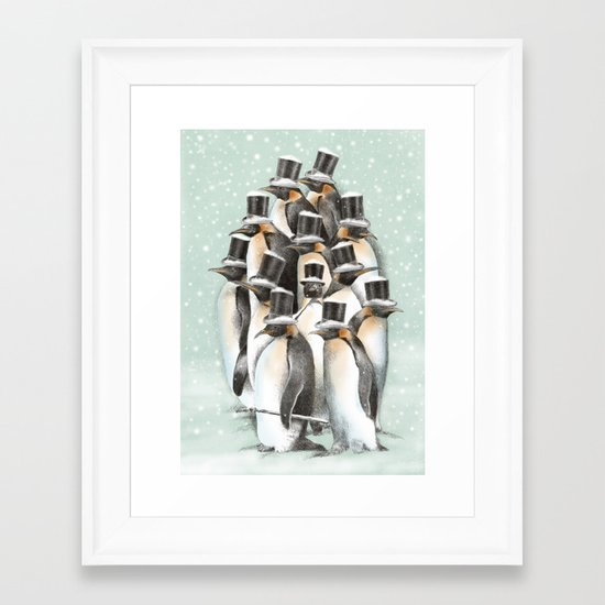 A Gathering in the Snow Framed Art Print