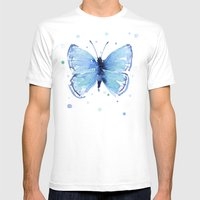 Butterfly Blue Watercolor Butterflies Mens Fitted Tee White SMALL