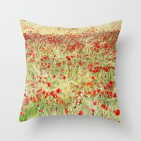 Windy poppies. Spring fields Throw Pillow