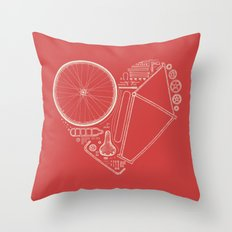 Love Bike (On Red) Throw Pillow