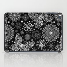 Butterfly & Floral Black and White Pattern iPad Case
