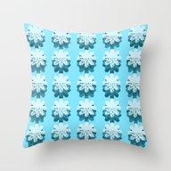 Blue Petal Pattern Throw Pillow