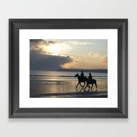 Riders At Sunset - Tramo… Framed Art Print