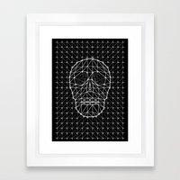 Triangle and Line Art Skull Framed Art Print