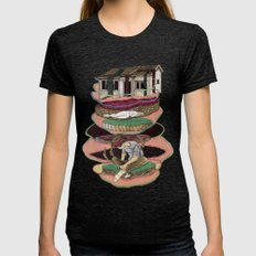 house old Womens Fitted Tee Tri-Black SMALL