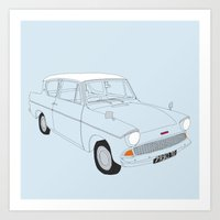 Weasley's Flying Ford Anglia Art Print