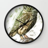Olive Owl Wall Clock