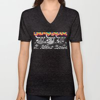 Sloths, Pyramids, Skulls, Rainbow Clouds Unisex V-Neck