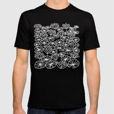 Water Lilies SMALL Mens Fitted Tee Black