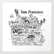 Art Print featuring San Francisco Map Illust… by Claire Lordon