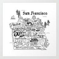 San Francisco Map Illust… Art Print