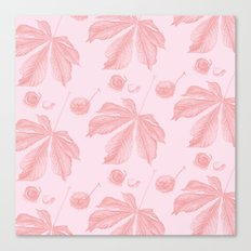 Horse Chestnut leaf and conker pale pink pattern Canvas Print