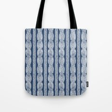 Cable Knit Navy Tote Bag