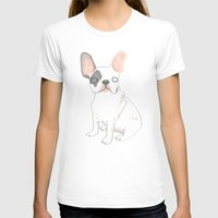French Bulldog Womens Fitted Tee White SMALL