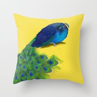 The Beauty That Sleeps - Vertical Peacock Painting Throw Pillow