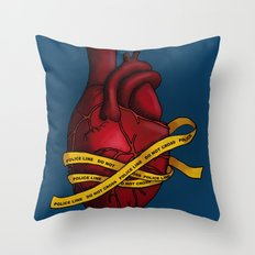 Heart of a Crime Scene Throw Pillow