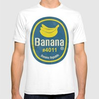 Banana Sticker On Blue Mens Fitted Tee White SMALL
