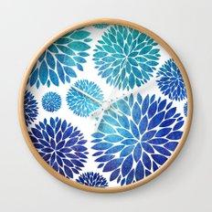 Ocean Flowers Watercolor Wall Clock