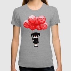 Creepy Girl Skeleton Balloons  Womens Fitted Tee Tri-Grey SMALL