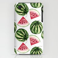 iPhone 3Gs & iPhone 3G Cases featuring Watermelon pattern. by Julia Badeeva